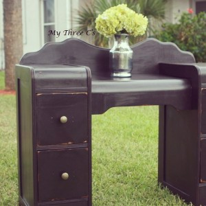 Black Distressed Waterfall Vanity!