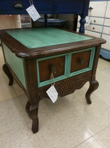 Turquoise and Dark Stain End/Accent Table. Sold at Wildwood Antique Mall!