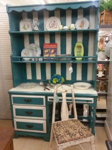 Candy Stripped Buffet! Teal and Country White with original hardware!