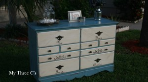 French Inspired Dresser. Blue frame and white drawers with original pulls. Distressed and Antiqued and decorated with French number script and Flur de Lis.