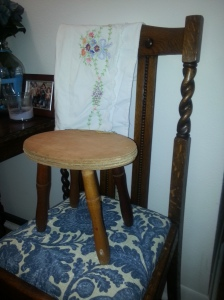 Antique Pillowcase and the stool.