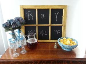 Distressed Yellow Barn Window Chalkboard