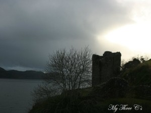 Gloomy view of Urquhart Castle.  Loch Ness, Scotland.